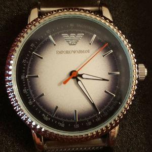 Emporio Armani Classic Silver Black Chrono Watch